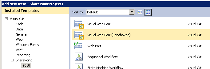 HOW TO: Create a Sandbox Compatible Visual Web Part with the Visual