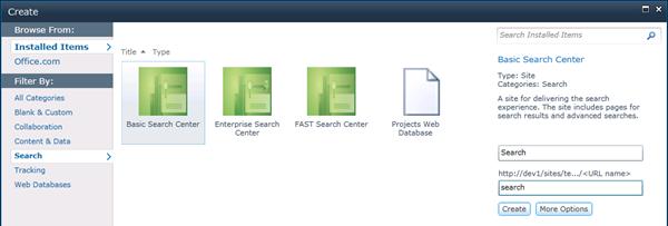 Create Basic Search Center