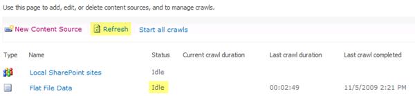 Flat File Data Content Source Status