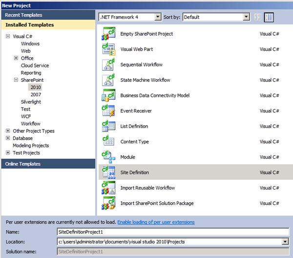Creating a Site Definition project type in VS 2010.