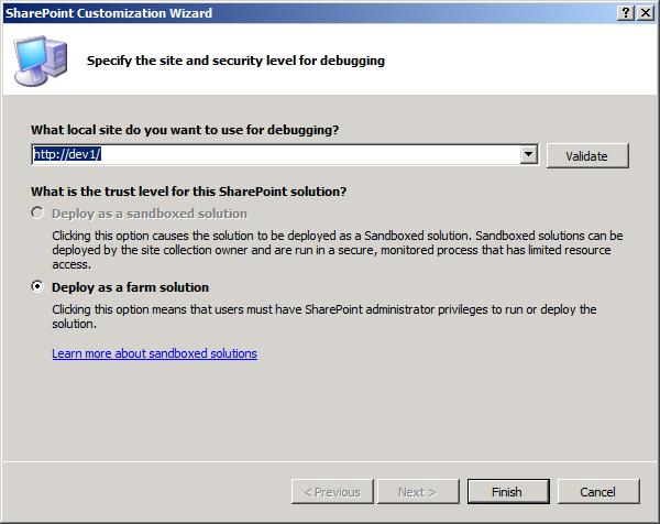 Set the SharePoint site to deploy to