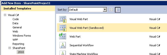 Sandboxed Visual Web Part Item